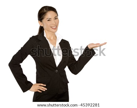 pretty asian wearing business outfit on white background