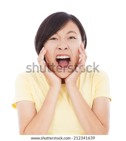 Pretty asian woman feel surprised facial expression - stock photo