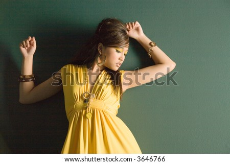 dress Asian girl yellow
