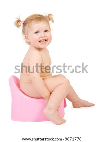 Pretty baby and pink potty . Isolate on white - stock photo
