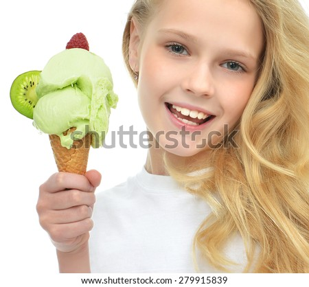 Pretty baby girl kid holding ice cream in waffles cone with raspberry and kiwi showing happy smiling isolated on a white background - stock photo
