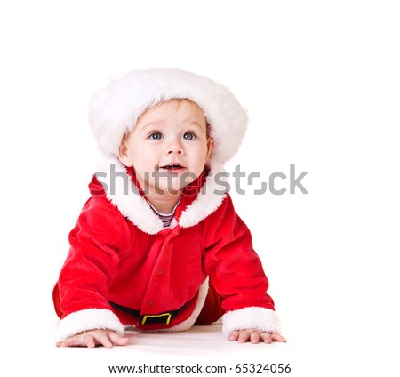 Pretty baby in Santa costume, isolated - stock photo