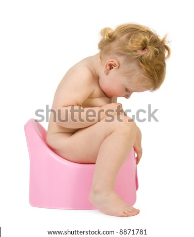 Pretty baby look in pink potty . Isolate on white - stock photo