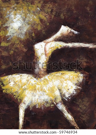 pretty ballet dancer girl - stock photo