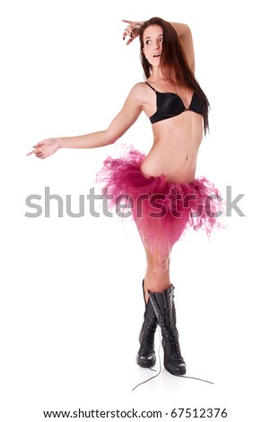 Pretty Ballet Woman in Tutu, Boots and Bra - stock photo