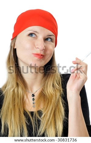 Pretty bandit with a cigarette in hand, isolated on white - stock photo