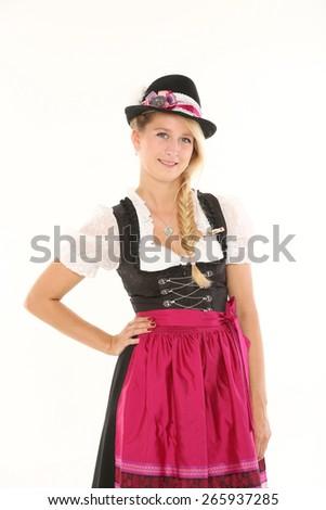 pretty bavarian woman  - stock photo