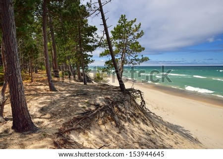 Pretty beach on Lake Superior Pictured Rocks National Lakeshore - stock photo