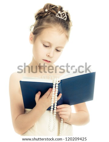 Pretty beautiful girl with a prayer book and a rosary on a white background. - stock photo