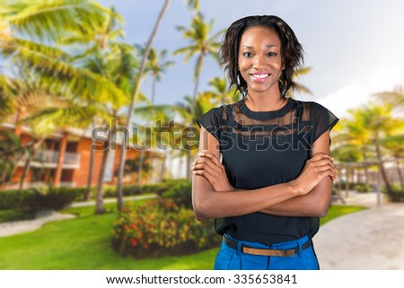 Pretty black african woman standing
