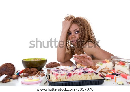 Pretty black girl having just been on a food binge