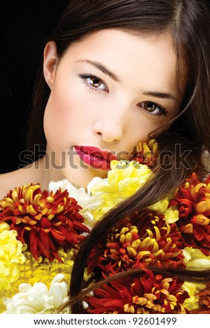 Pretty black hair woman with flowers