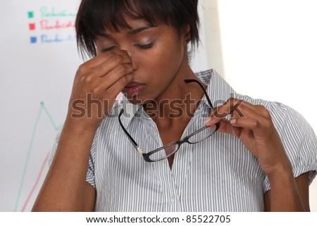 pretty black woman having migraine - stock photo