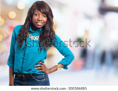 pretty black woman posing - stock photo