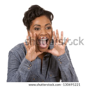 pretty black woman wearing casual outfit on white background - stock photo