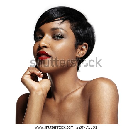pretty black woman with red lips - stock photo