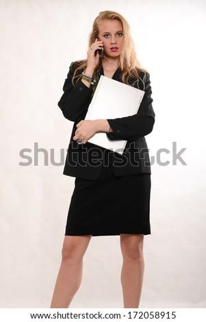 Pretty blond caucasian business woman - stock photo