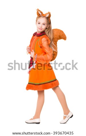 Pretty blond girl dressed like a squirrel. Isolated on white - stock photo