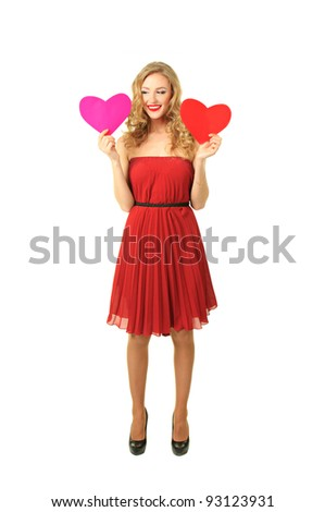 Pretty blond girl in red dress make choice between two hearts