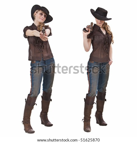 Pretty blond girl in the cowgirl costume. Isolated on white. - stock photo