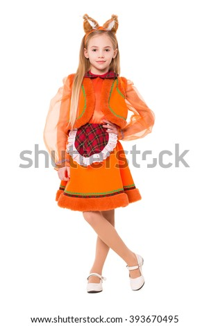 Pretty blond girl posing in a squirrel dress. Isolated on white - stock photo