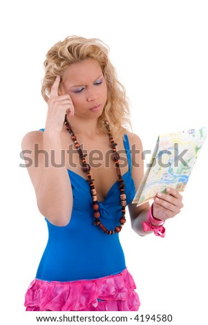 Pretty blond looking thoughtfully at a citymap in her hand