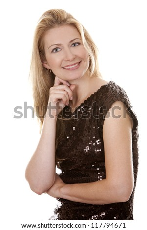 pretty blond woman wearing brown top sitting on white background