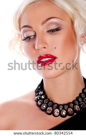 pretty blond woman with red sexy lips , marilyn monroe - stock photo