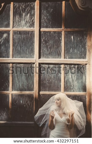 Pretty blonde bride covered by a veil stand with closed eyes behind a big old window - stock photo