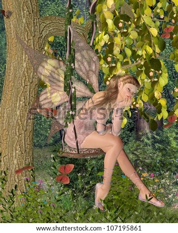 Pretty blonde fairy with pink dress and wings sitting day-dreaming on a swing in a sunny woodland surrounded by butterflies, 3d digitally rendered illustration - stock photo
