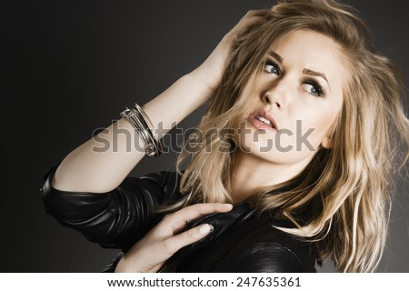Pretty Blonde Fashion Girl - stock photo