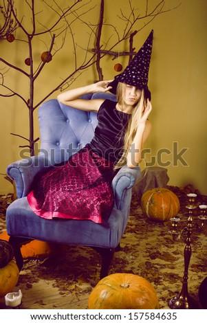 pretty blonde girl ?elebrating halloween - stock photo