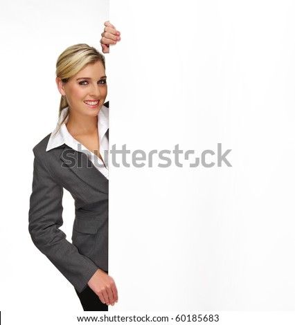 Pretty blonde girl with a blank presentation board - stock photo