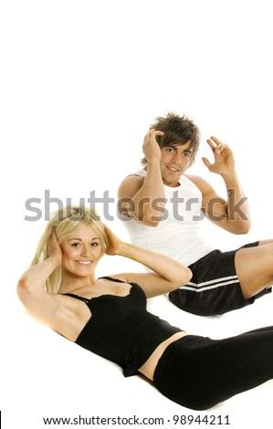 Pretty blonde woman and muscular man doing cardio exercises isolated on a white background
