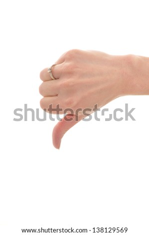 pretty blonde woman giving thumbs down, isolated on white background
