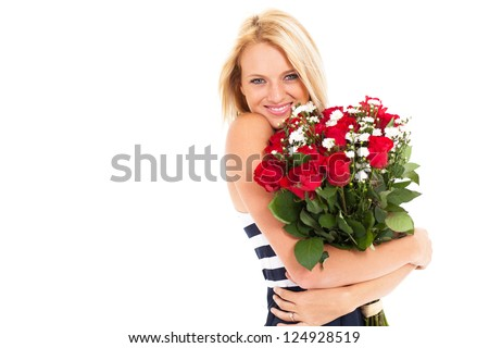 pretty blonde woman holding bunch of roses - stock photo