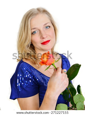 Pretty blonde woman holding one orange rose on the white background