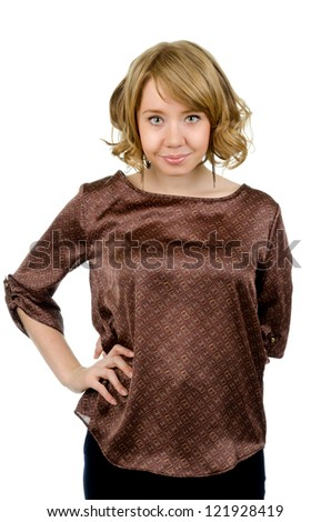 Pretty blonde woman with curly hair looking directly at the camera wearing a stylish brown satin top isolated on white - stock photo