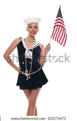 Pretty blue eyed blonde in a sailor suit - stock photo