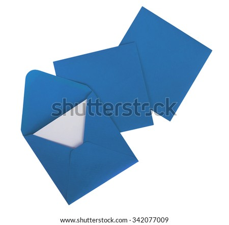 Pretty blue square envelopes isolated on white. Cards, letters.