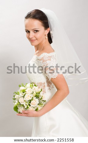 Pretty bride. Bride on the white background.