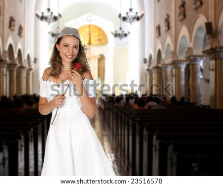 Pretty Bride inside a Church Waiting to Walk Down the Aisle - stock photo