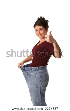 Pretty brunette having lost a big deal of weight - stock photo