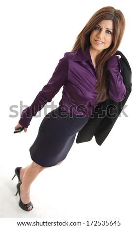 Pretty brunette hispanic businesswoman in her forties - stock photo