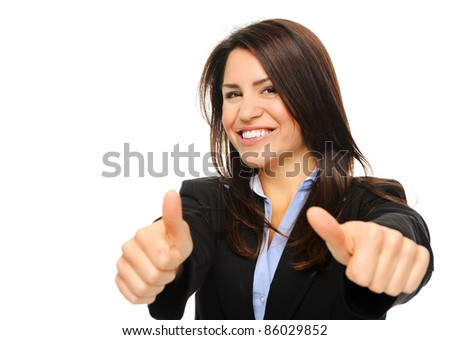 Pretty brunette in formal business attire giving the thumbs up, isolated on white