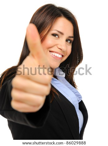 Pretty brunette in formal business attire giving the thumbs up, isolated on white, focus on face - stock photo