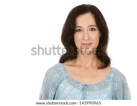 pretty brunette in her 40s wearing casual outfit on white background - stock photo