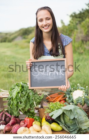 Pretty brunette selling organic vegetables on a sunny day