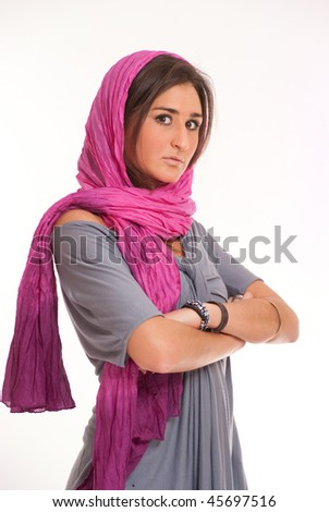 Pretty brunette with a pink silk headscarf