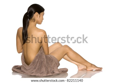 pretty brunette woman posing on white isolated background